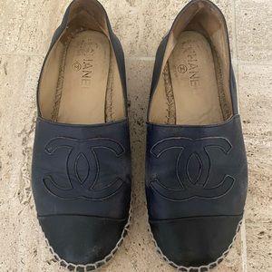 Chanel espadrilles navy black